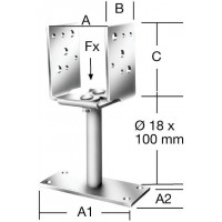 Papuc reazem din tabla de otel zincat, reglabil, 70 - 150 x 70 x 115 mm