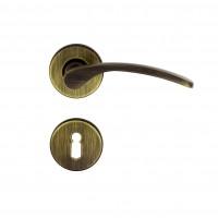 Maner cu rozeta pentru usa interior Vienetta Verofer P, zamac, bronz grafiat, D = 50 mm