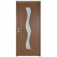 Usa de interior din lemn cu geam BestImp 014-88-J stanga / dreapta stejar auriu 203 x 88 cm