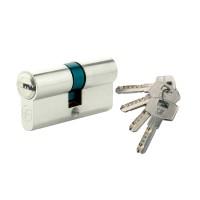 Cilindru de siguranta centrat, cu amprenta, nichelat, 4 chei, L70 35 x 35 mm DIN