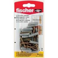Diblu universal din nylon, cu surub cu cap inecat, Fischer SX, 5 x 25 mm, 20 bucati