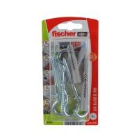 Diblu universal din nylon, cu surub cu carlig ochi deschis, Fischer UX, 8 x 50 mm, set 4 bucati