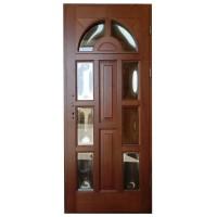 Usa intrare din lemn, Zsuzsana, nuc, cu sticla bombata, dreapta, 88 x 208 cm
