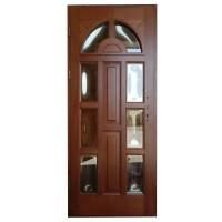 Usa intrare din lemn, Zsuzsana, nuc, cu sticla bombata, stanga, 88 x 208 cm