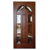 Usa intrare din lemn, Zsuzsana, nuc, cu sticla bombata, dreapta, 98 x 208 cm