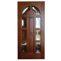 Usa intrare din lemn, Zsuzsana, nuc, cu sticla bombata, stanga, 98 x 208 cm