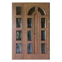 Usa intrare din lemn, Zsuzsana, nuc, cu sticla bombata, dreapta, 138 x 208 cm