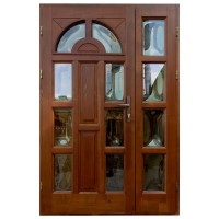 Usa intrare din lemn, Zsuzsana, nuc, cu sticla bombata, stanga, 138 x 208 cm