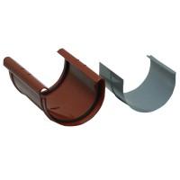 Mufa jgheab Wavin Kanion, PVC, rosu, semicircular, D 130 mm