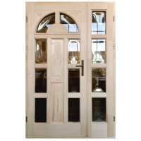 Usa intrare din lemn, Zsuzsana, natur, cu sticla bombata, stanga, 138 x 208 cm
