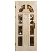 Usa intrare din lemn, Zsuzsana, natur, cu sticla bombata, stanga, 88 x 208 cm