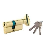 Cilindru de siguranta centrat, alama natur, buton 3 chei, L90 45 x 45 mm UNI