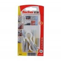 Diblu universal, din nylon, cu surub cu carlig ochi deschis, alb, Fischer SX, 6 x 30 mm, set 4 bucati