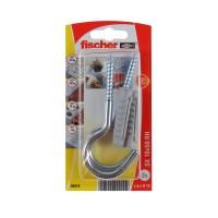 Diblu universal, din nylon, cu surub cu carlig ochi deschis, zincat, Fischer SX, 10 x 50 mm, set 2 bucati