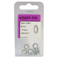 Saibe elastice crestate exterior, Easy-Fix, DIN 6798A, otel, zincat alb, M5, 16 bucati