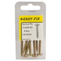 Surub pentru PAL / lemn, cu cap bombat, amprenta cruce, Easy-Fix, otel, zincat galben, 5 x 50 mm, set 8 bucati