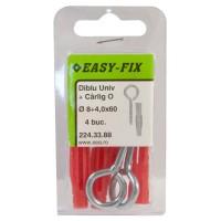 Diblu universal din nylon, cu surub cu carlig ochi inchis, 8 x 50 mm, 4 bucati