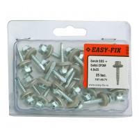 Surub autoforant pentru tabla, cu cap hexagonal + saiba EPDM, Easy-Fix, din otel, zincat alb, 4.8 x 25 mm, set 25 bucati