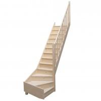 Scara lemn brad, Thalia, cu turnanta dreapta, 13 trepte, 280 cm