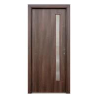 Usa interior celulara cu geam, Eco Euro Doors R80, stanga, Gol II, nuc, 202 x 66 x 4 cm cu toc