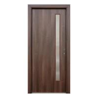 Usa interior celulara cu geam, Eco Euro Doors R80, stanga, Gol II, nuc, 202 x 86 x 4 cm cu toc