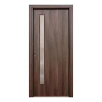Usa interior celulara cu geam, Eco Euro Doors R80, dreapta, Gol II, nuc, 202 x 86 x 4 cm cu toc