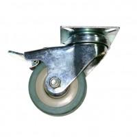 Roata pivotanta, din cauciuc siliconic, cu frana, cu placa, 50 mm, 40 kg