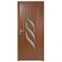 Usa de interior din lemn cu geam Super Door F12-68-S stanga / dreapta stejar inchis 203 x 68 cm