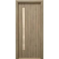 Usa interior celulara cu geam, Eco Euro Doors R80, dreapta, Gol II, gri, 202 x 76 x 4 cm cu toc