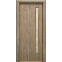 Usa interior celulara cu geam, Eco Euro Doors R80, stanga, Gol II, gri, 202 x 76 x 4 cm cu toc