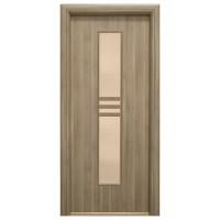 Usa interior celulara cu geam, Eco Euro Doors R80, stanga, Gol D2, gri, 202 x 76 x 4 cm cu toc