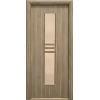 Usa interior celulara cu geam, Eco Euro Doors R80, stanga, Gol D2, gri, 202 x 86 x 4 cm cu toc