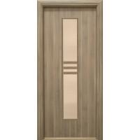 Usa interior celulara cu geam, Eco Euro Doors R80, dreapta, Gol D3, gri, 202 x 76 x 4 cm cu toc