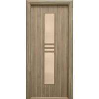 Usa interior celulara cu geam, Eco Euro Doors R80, stanga, Gol D3, gri, 202 x 76 x 4 cm cu toc