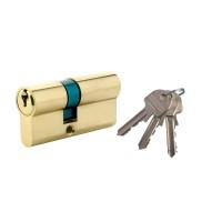 Cilindru de siguranta descentrat, alama natur, standard 3 chei, L65 30 x 35 mm DIN