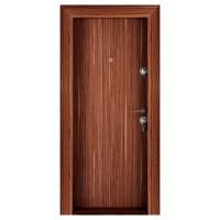 Usa metalica pentru exterior Megadoor Compact 2, stanga, nuc, 200 x 88 cm + accesorii