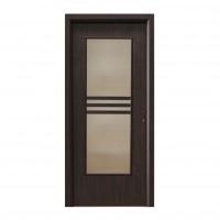 Usa interior celulara cu geam, Eco Euro Doors R80, stanga, Gol D3, wenge, 202 x 86 x 4 cm cu toc