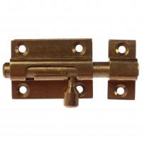 Zavor aplicat cu bolt rotund si mecanism blocare, auriu, 40 x 30 mm