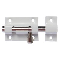 Zavor aplicat cu bolt rotund si mecanism blocare, alb, 40 x 30 mm