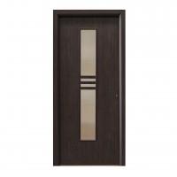 Usa interior celulara cu geam, Eco Euro Doors R80, stanga, Gol D2, wenge, 202 x 86 x 4 cm cu toc