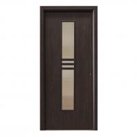 Usa interior celulara cu geam, Eco Euro Doors R80, stanga, Gol D2, wenge, 202 x 76 x 4 cm cu toc