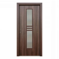 Usa interior celulara cu geam, Eco Euro Doors R80, dreapta, Gol D2, nuc, 202 x 76 x 4 cm cu toc
