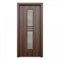 Usa interior celulara cu geam, Eco Euro Doors R80, stanga, Gol D2, nuc, 202 x 76 x 4 cm cu toc