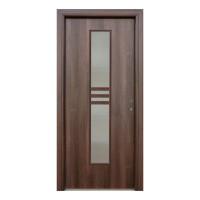 Usa interior celulara cu geam, Eco Euro Doors R80, stanga, Gol D2, nuc, 202 x 86 x 4 cm cu toc