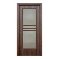 Usa interior celulara cu geam, Eco Euro Doors R80, dreapta, Gol D3, nuc, 202 x 86 x 4 cm cu toc