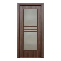 Usa interior celulara cu geam, Eco Euro Doors R80, stanga, Gol D3, nuc, 202 x 86 x 4 cm cu toc