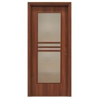 Usa interior celulara cu geam, Eco Euro Doors R80, stanga, Gol D3, nuc, 202 x 76 x 4 cm cu toc