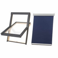 Fereastra de mansarda Baudeman DPX B500 66 x 118 cm + rulou interior fereastra mansarda, dur, Contrio, albastru, 66 x 118 cm