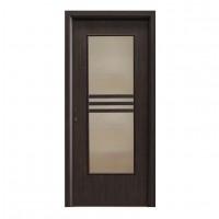 Usa interior celulara cu geam, Eco Euro Doors R80, dreapta, Gol D3, wenge, 202 x 76 x 4 cm cu toc