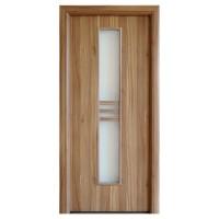 Usa interior celulara cu geam, Eco Euro Doors R80, stanga, Gol D2, nuc 2, 202 x 86 x 4 cm cu toc